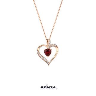 Penta Silver - Kalp Taşlı Zarif Kalpli Gümüş Kolye