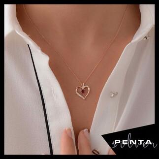 Kalp Taşlı Zarif Kalpli Gümüş Kolye - Thumbnail