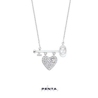 Penta Silver - Kalpli Anahtarlı Sonsuzluk Gümüş Kolye