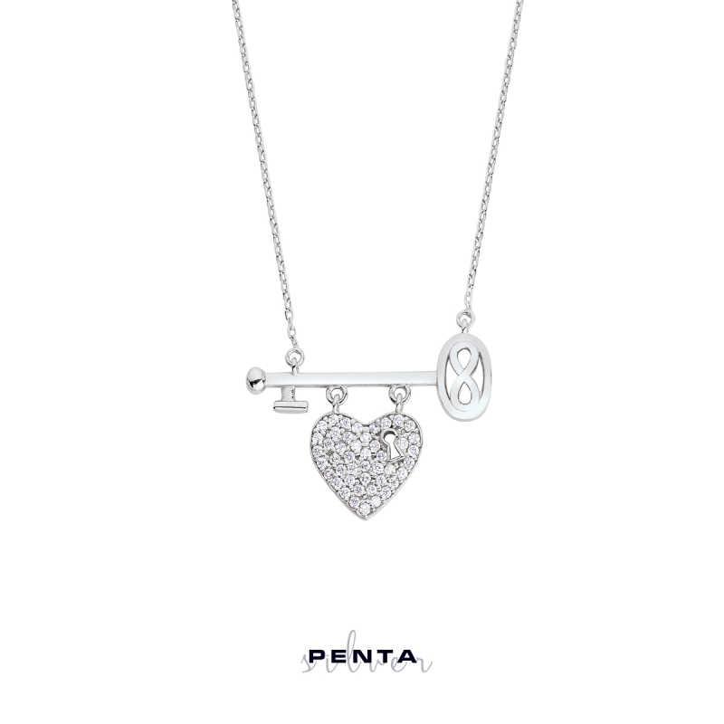 Kalpli Anahtarlı Sonsuzluk Gümüş Kolye