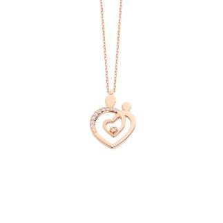 Kalpli Anne Çocuk Gümüş Kolye - Thumbnail