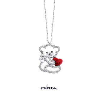 Penta Silver - Kalpli Büyük Panda Gümüş Kolye (1)