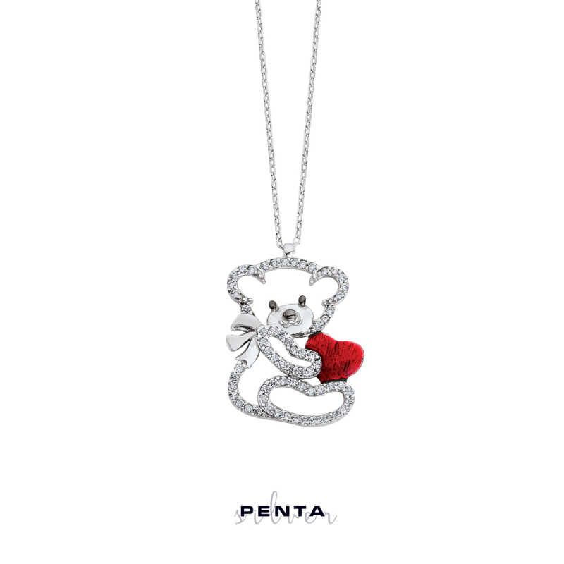 Kalpli Büyük Panda Gümüş Kolye