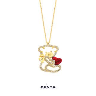 Kalpli Büyük Panda Gümüş Kolye - Thumbnail