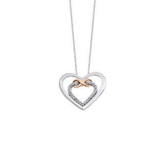 Kalpli Ebedi Aşk Gümüş Kolye - Thumbnail
