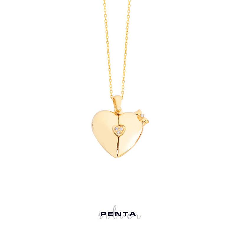Kalpli Fiyonk Harfli Gümüş Kolye