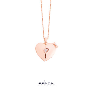 Penta Silver - Kalpli Fiyonk Harfli Gümüş Kolye (1)