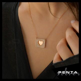 Penta Silver - Kalpli İsimli Levha Gümüş Kolye (1)