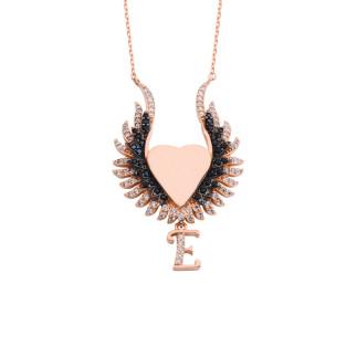Kalpli İsimli ve Harfli Gümüş Kolye - Thumbnail