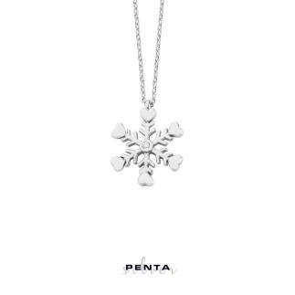 Penta Silver - Kalpli Kar Tanesi Gümüş Kolye