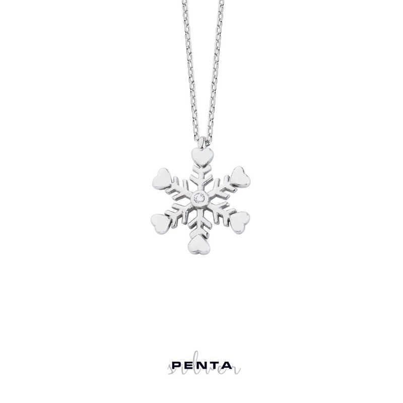 Kalpli Kar Tanesi Gümüş Kolye