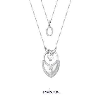 Penta Silver - Kalpli Kilit Anahtar Harfli Gümüş Kolye Çift Zincirli (1)