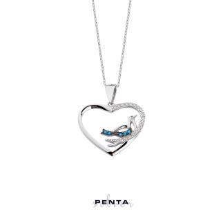 Penta Silver - Kalpli Kuşlu Gümüş Kolye
