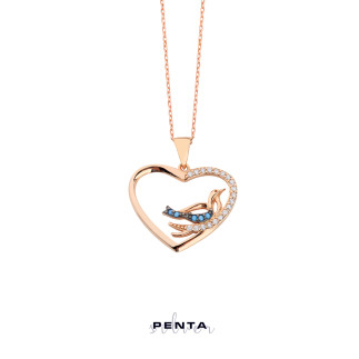 Kalpli Kuşlu Gümüş Kolye - Thumbnail