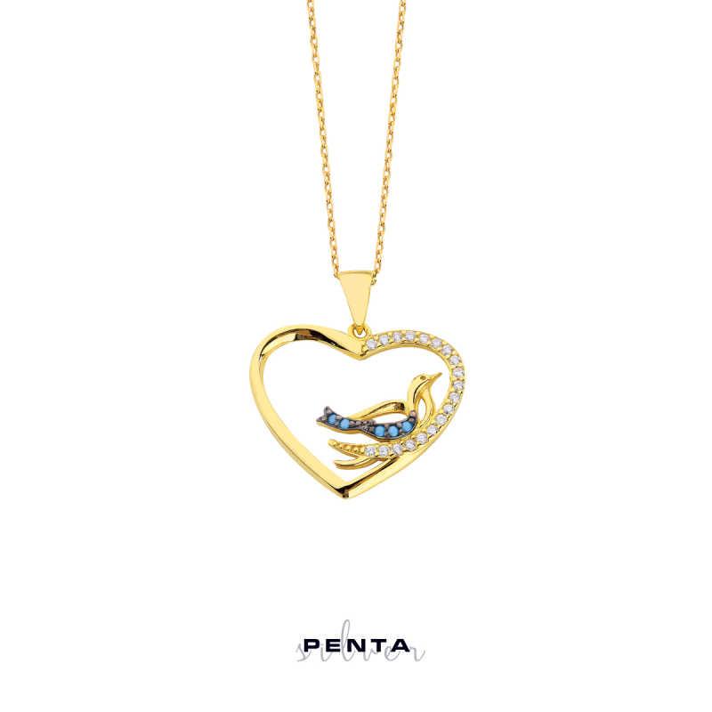 Kalpli Kuşlu Gümüş Kolye