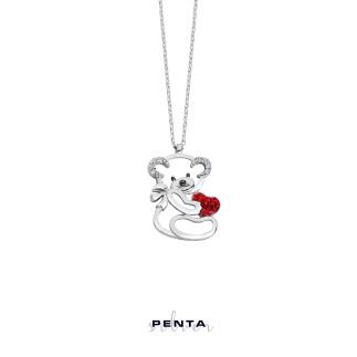 Kalpli Minik Panda Gümüş Kolye - Thumbnail