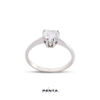 Penta Silver - Kalpli Montür Tektaş Gümüş Yüzük