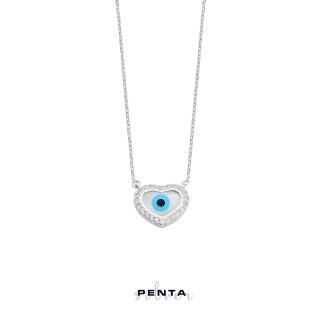 Penta Silver - Kalpli Nazar Boncuklu Gümüş Kolye