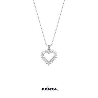 Penta Silver - Kalpli Sıra Taş Gümüş Kolye