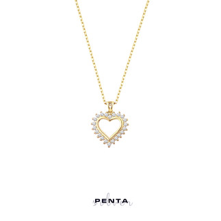 Kalpli Sıra Taş Gümüş Kolye - Thumbnail