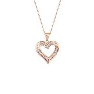 Kalpli Zemin Taşlı Gümüş Kolye - Thumbnail