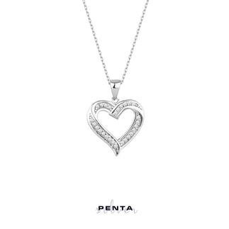 Penta Silver - Kalpli Zemin Taşlı Gümüş Kolye
