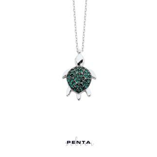Kaplumbağa Gümüş Kolye - Thumbnail