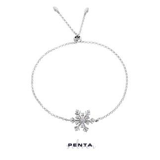 Kar Tanesi Ayarlı Gümüş Bileklik - Thumbnail