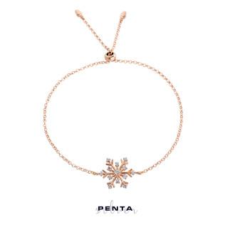 Penta Silver - Kar Tanesi Ayarlı Gümüş Bileklik