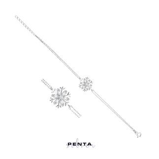 Penta Silver - Kar Tanesi Baget Taşlı Gümüş Bileklik (1)