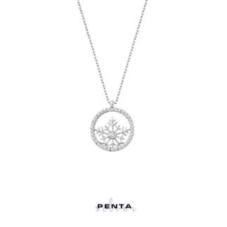 Penta Silver - Kar Tanesi Çerçeveli Gümüş Kolye (1)