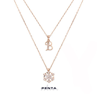 Penta Silver - Kar Tanesi Çift Zincirli Harfli Gümüş Kolye (1)