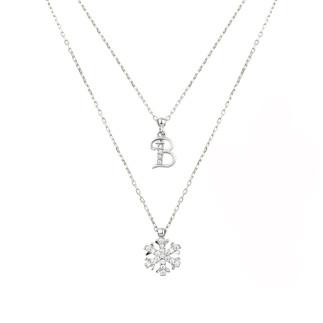 Kar Tanesi Çift Zincirli Harfli Gümüş Kolye - Thumbnail