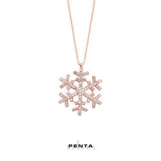 Kar Tanesi Gümüş Kolye - Thumbnail