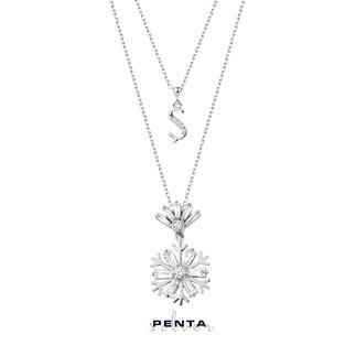 Penta Silver - Kar Tanesi Harfli Gümüş Kolye Çift Zinzirli