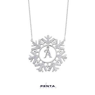 Kar Tanesi Harfli Gümüş Kolye - Thumbnail