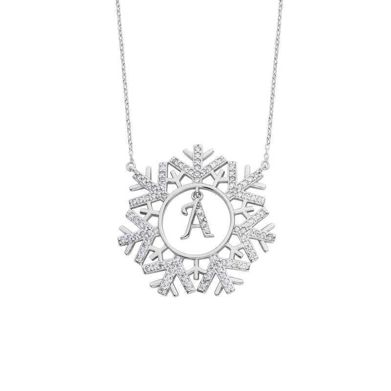 Kar Tanesi Harfli Gümüş Kolye