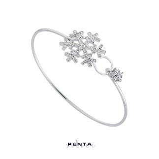 Penta Silver - Kar Tanesi Kelepçe Gümüş Bileklik