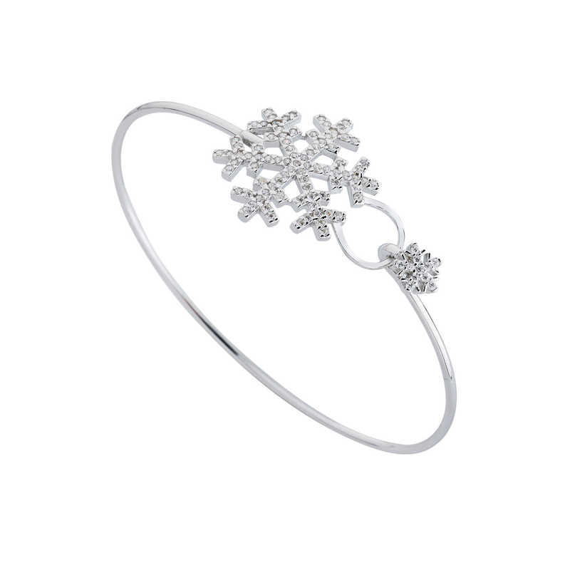 Kar Tanesi Kelepçe Gümüş Bileklik