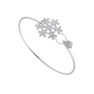 Kar Tanesi Kelepçe Gümüş Bileklik - Thumbnail