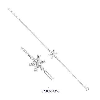Penta Silver - Kar Tanesi Tek Taş Gümüş Bileklik
