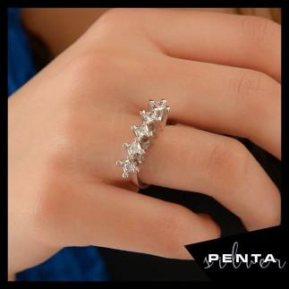 Penta Silver - Kare Beştaş Gümüş Yüzük