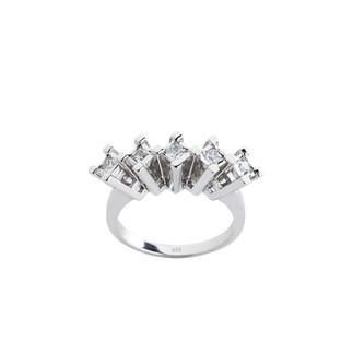 Kare Beştaş Gümüş Yüzük - Thumbnail