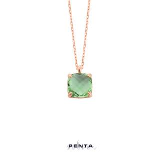 Penta Silver - Kare Biryole Renkli Gümüş Kolye