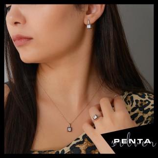 Penta Silver - Kare Elmas Montür Gümüş Takı Seti