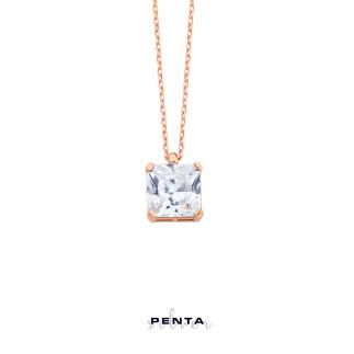 Penta Silver - Kare Prenses Tektaş Gümüş Kolye (1)