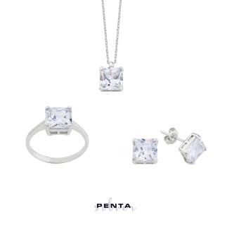 Penta Silver - Kare Prenses Tektaş Gümüş Set