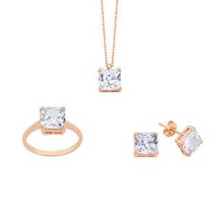 Kare Prenses Tektaş Gümüş Set - Thumbnail
