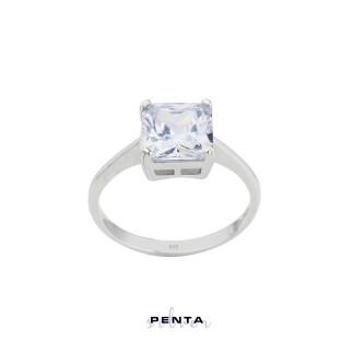 Penta Silver - Kare Prenses Tektaş Gümüş Yüzük