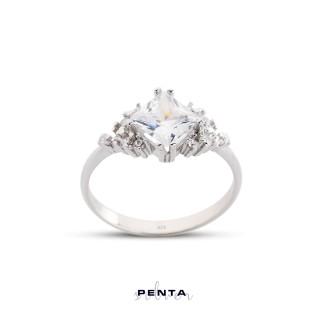 Penta Silver - Kare Taş Çiçek Motifli Gümüş Yüzük